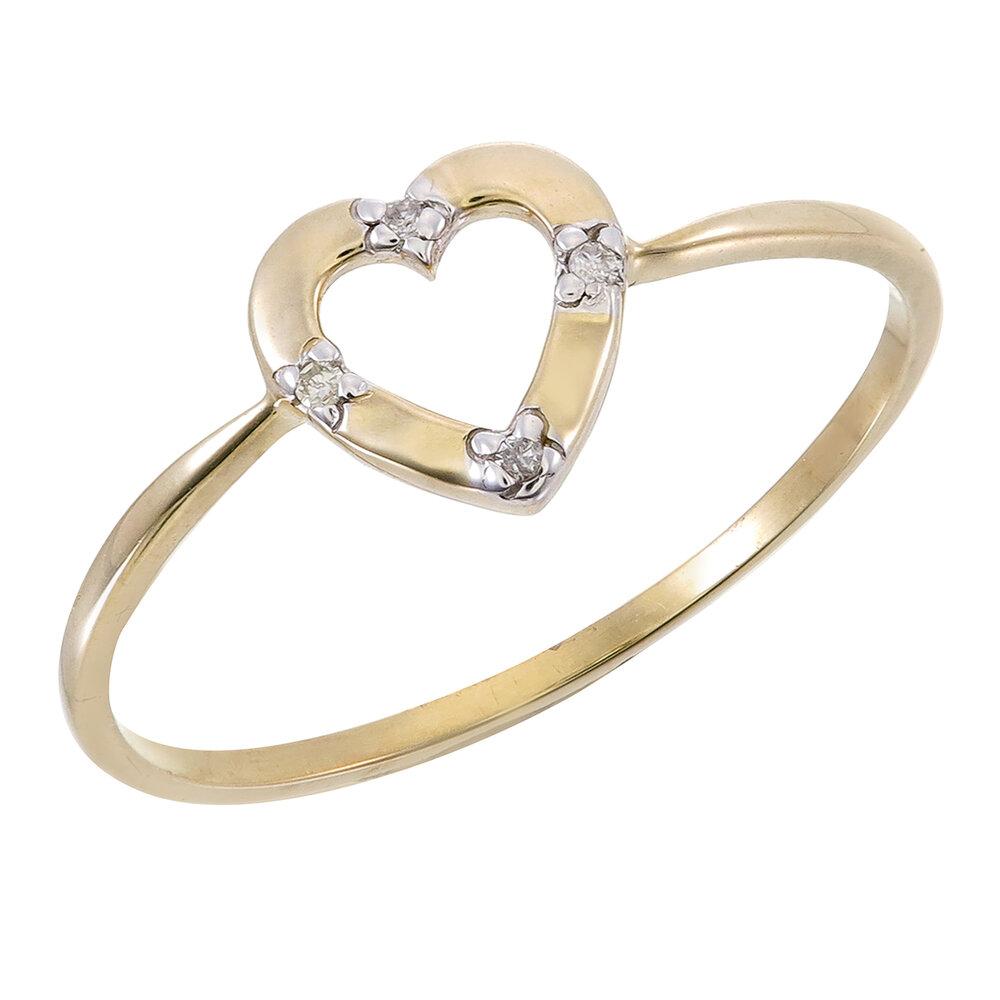 Bague coeur pour femme - Or jaune 10K & diamants totalisant 2pts