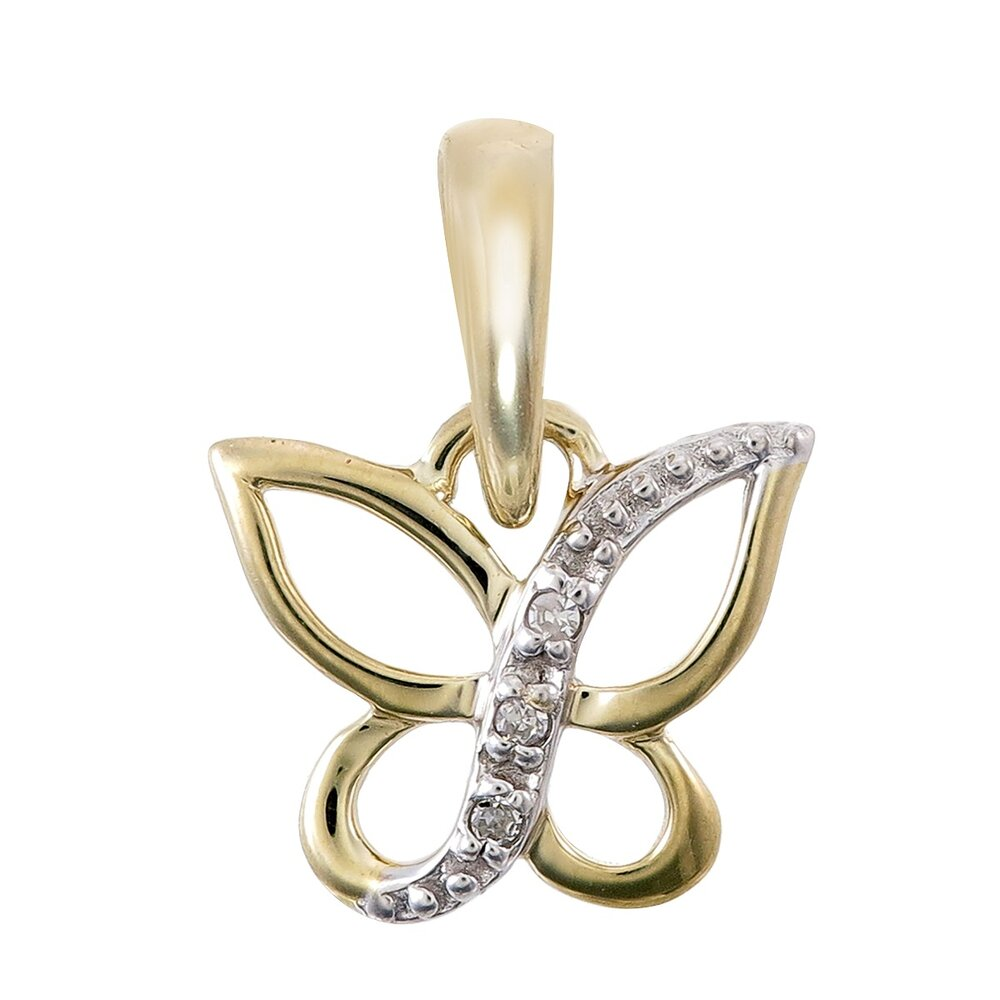 Butterfly pendant for women - 10K 2 tone Gold & Diamonds T.W. 1pts