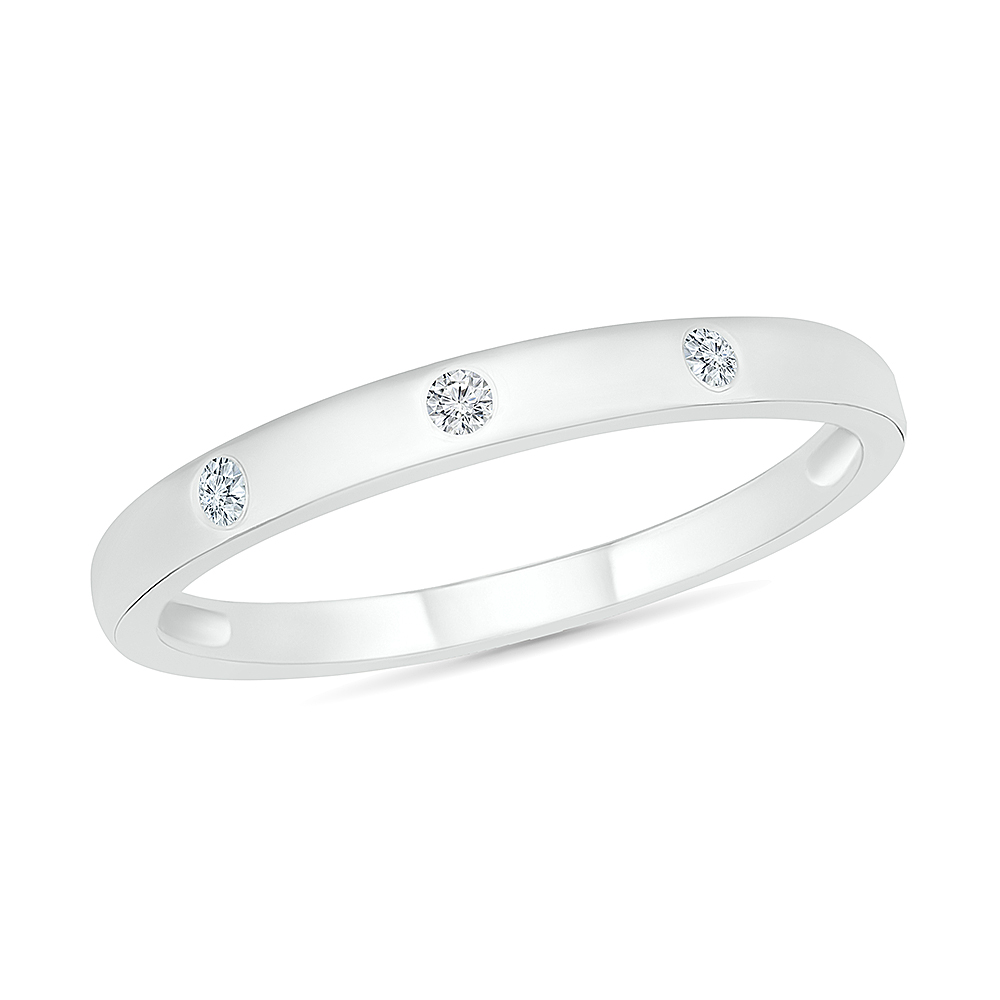 Band for woman - 10K white gold & diamond T.W. 5 pts