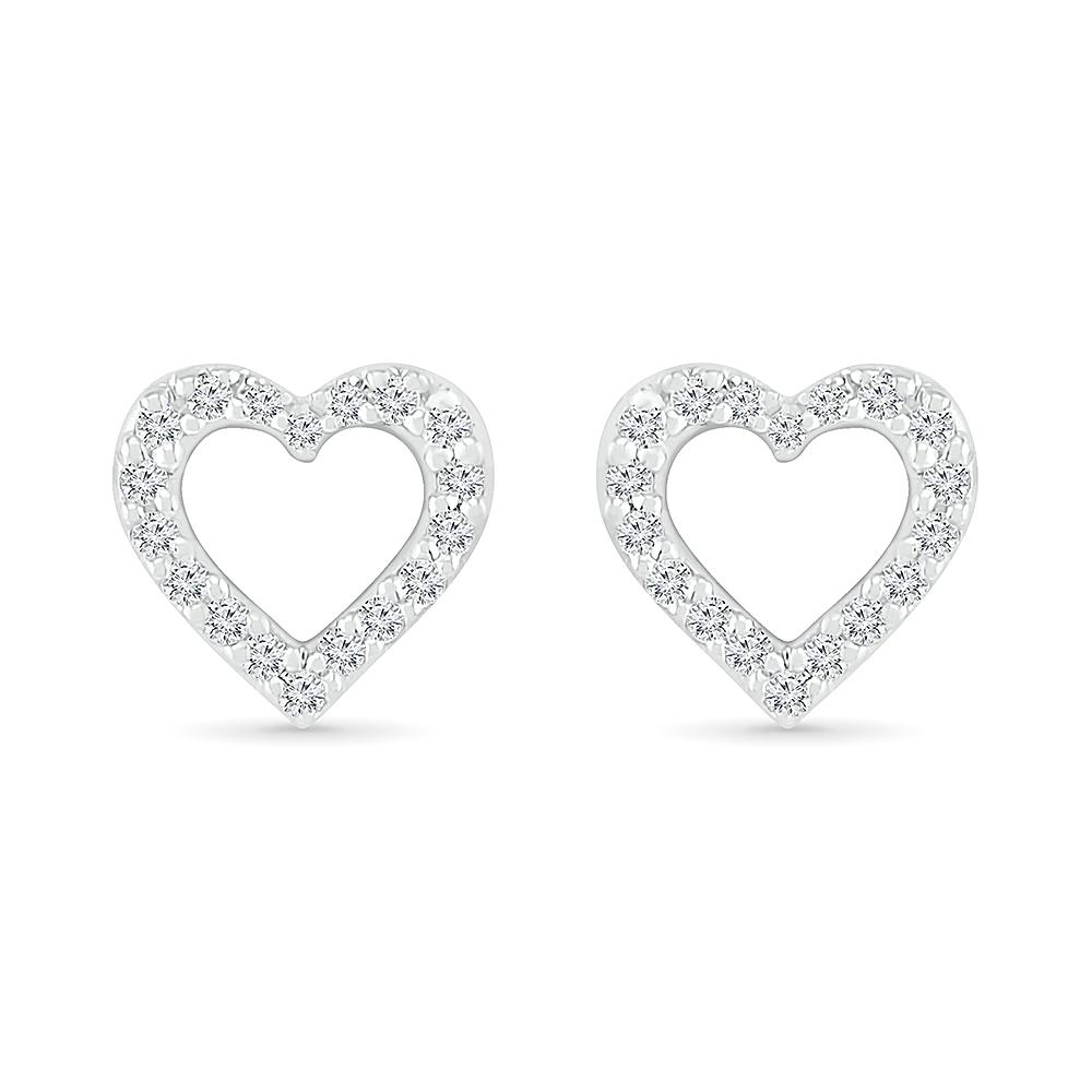 Boucles d'oreilles coeur pour femme - Or blanc 10K & diamants totalisant 5pts