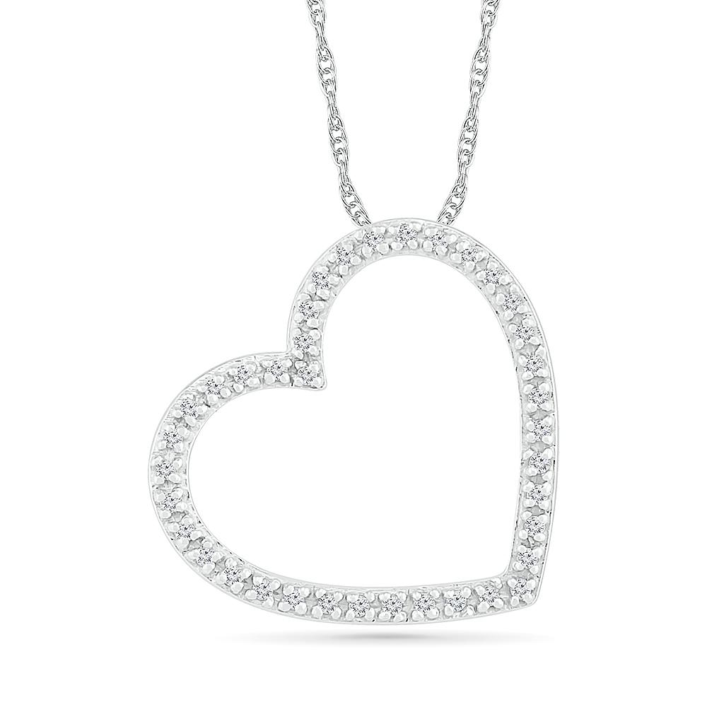 Pendentif coeur pour femme - Or blanc 10K & Diamants totalisant 8pts