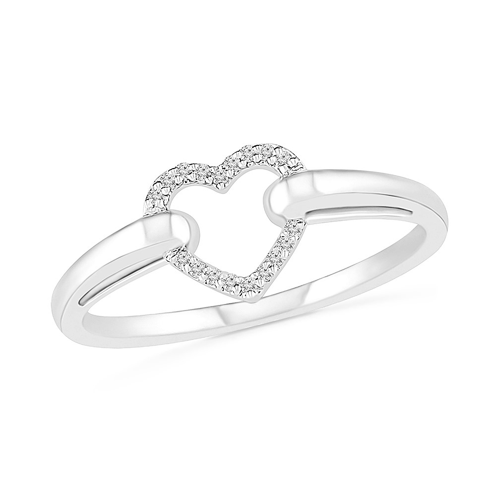 Heart ring for woman sterling silver .925 & diamonds T.W. 5pts
