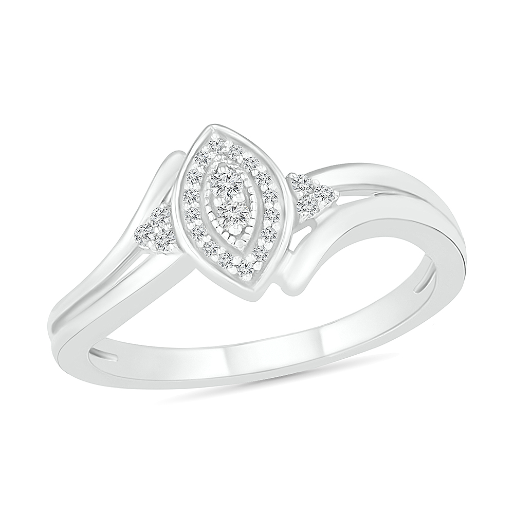 Ring for woman sterling silver .925 & diamonds T.W. 10pts