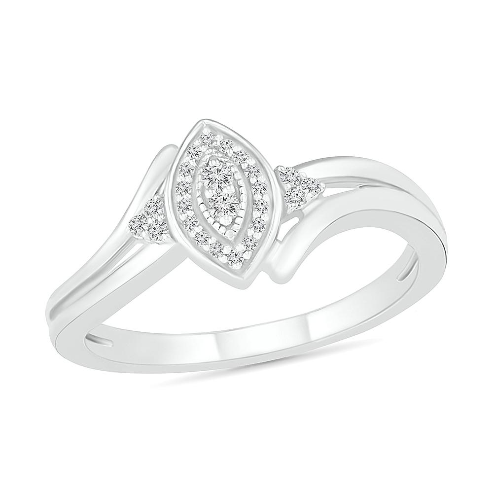 Bague pour femme en argent sterling .925 & diamants totalisant 10pts
