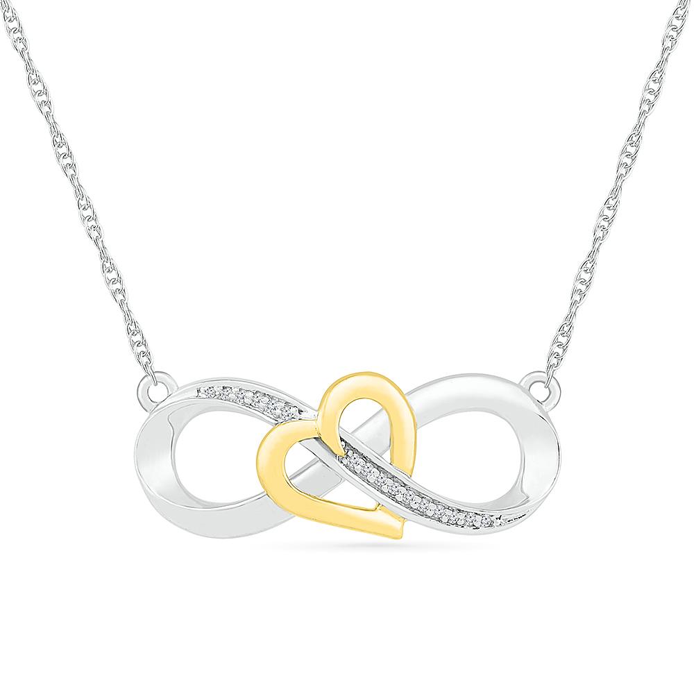 Pendentif symbole Infinity & Heart pour femme - en argent sterling .925 & Or Jaune 10K & Diamants