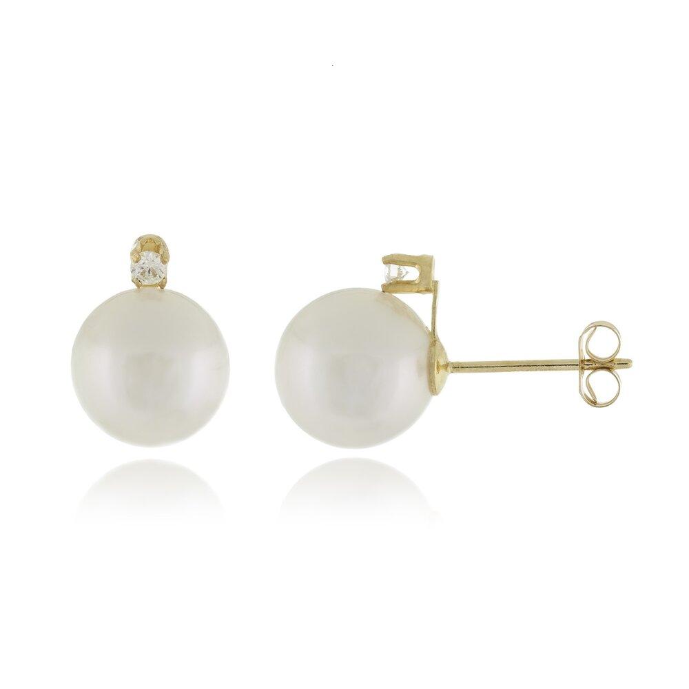 Boucles d'oreilles or jaune 14K, perle 6-6.5 et diamants totalisant 6pts