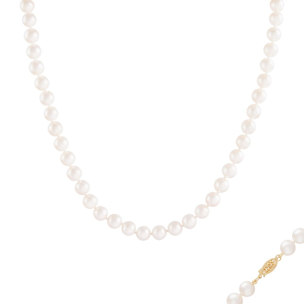 Collier de perles 18 pouces 7-8 mm - fermoir en or 14k