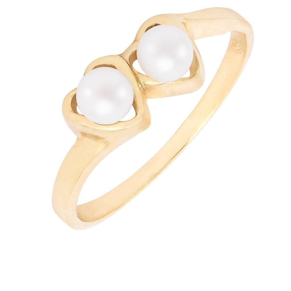 Bague double cœur avec perle en or jaune 10k