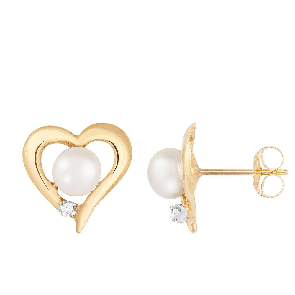 Boucles d'oreilles coeur or jaune 10K, perle et diamants totalisant 2pts