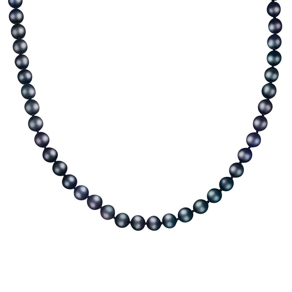 Collier de Perles noires 7-8MM et de 18 pouces - fermoir en or 14K