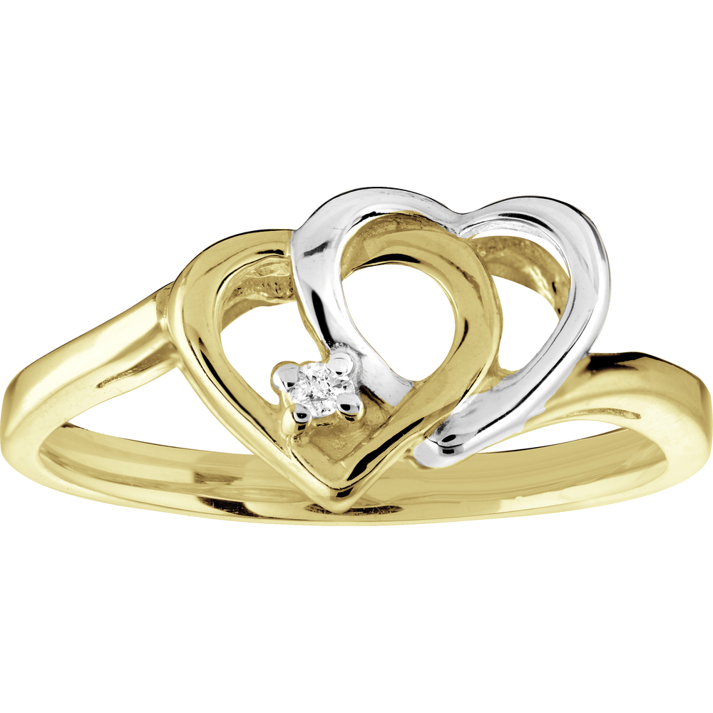 Heart ring with Diamond 1.5 pts T.W. - in 10K 2-tone Gold (yellow and white)
