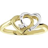 Bague coeur sertis d'un diamant de 0.015 Carat - en Or 10K 2-tons (jaune et blanc)