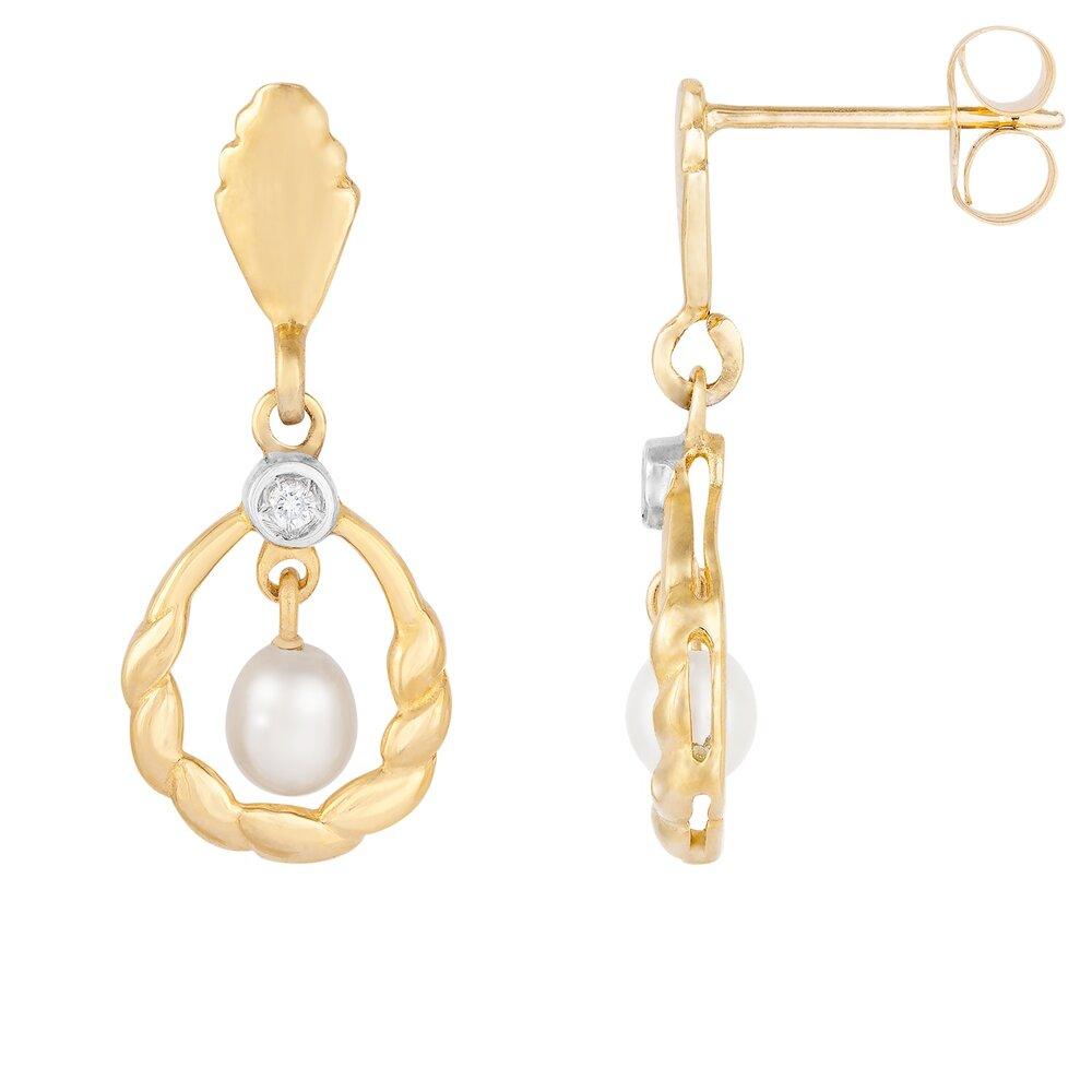 Boucles d'oreilles en or jaune 10K, perle et diamants totalisant 2pts