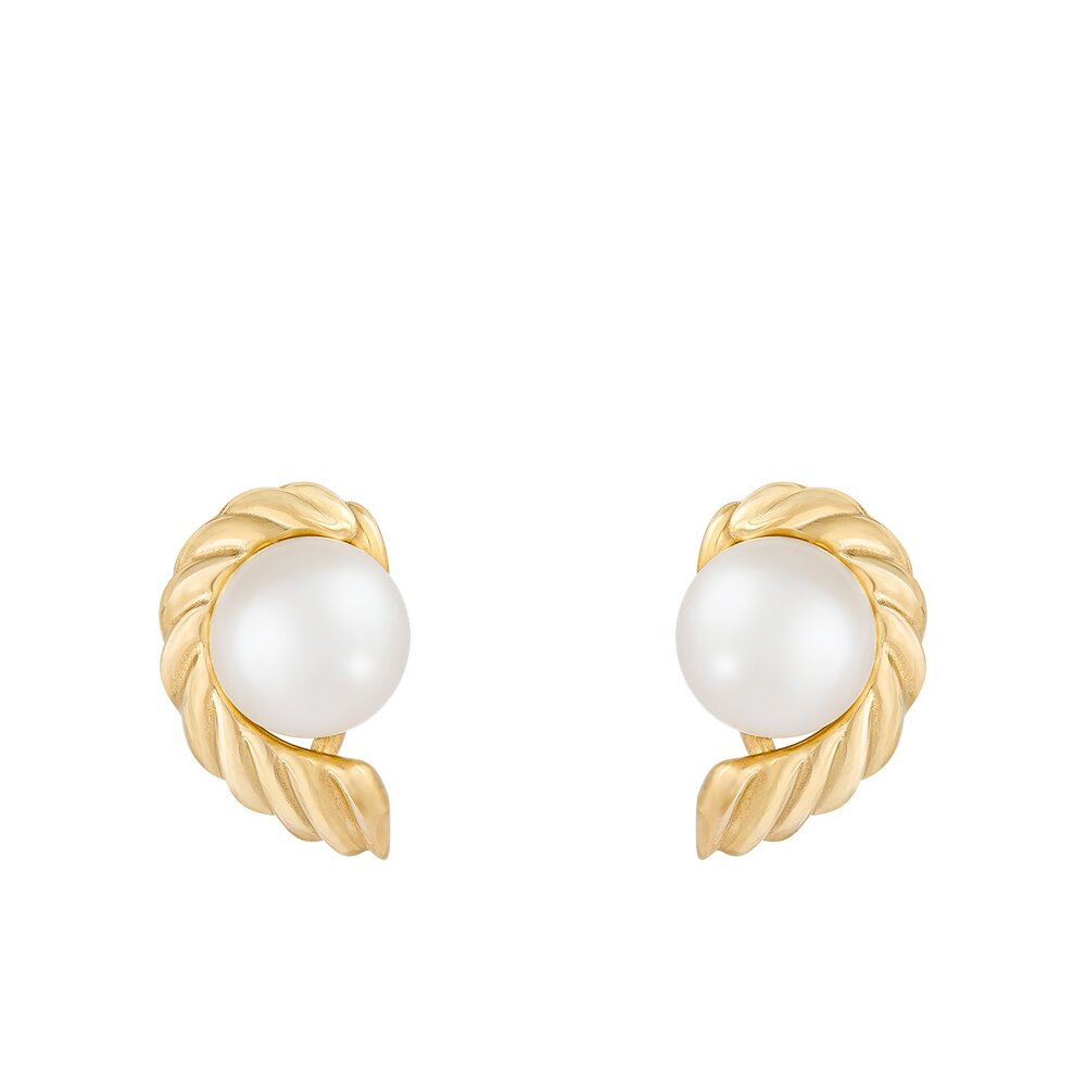 Boucles d'oreilles perles en or jaune 10K