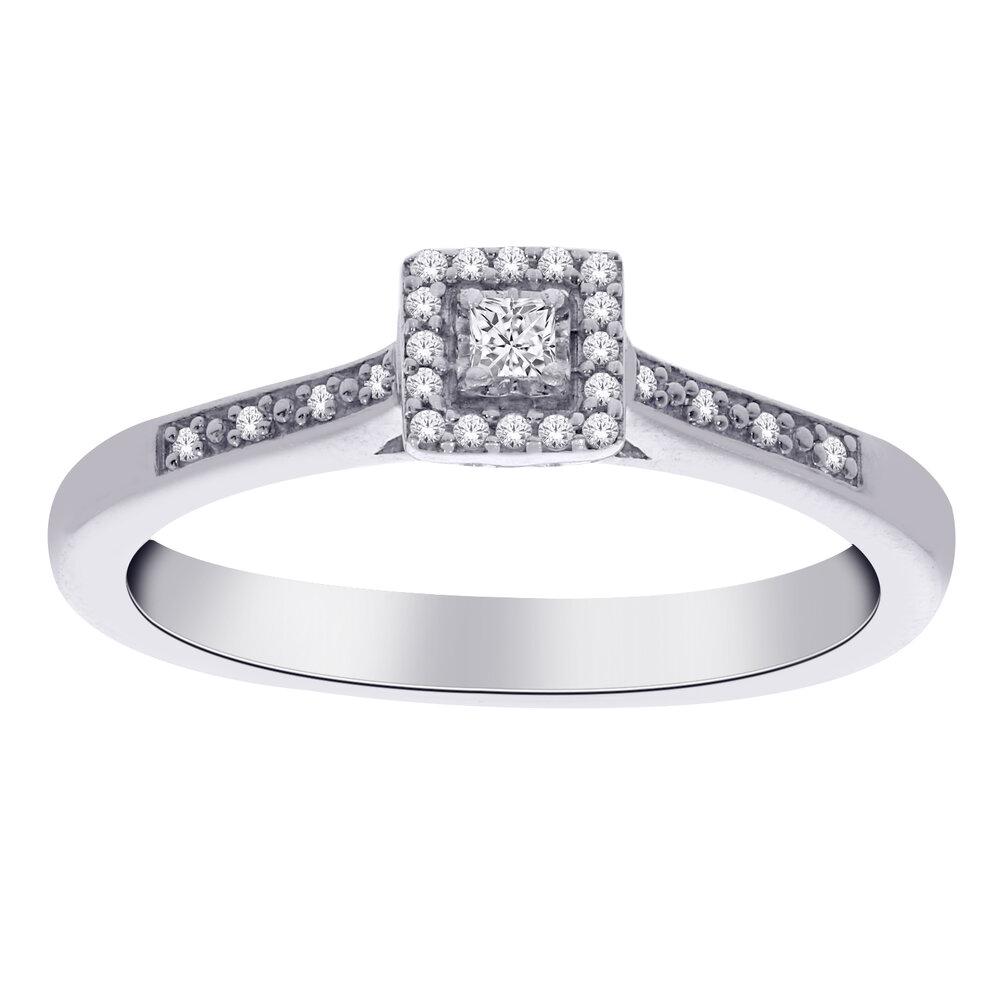 Bague  pour femme - Or blanc 10K & Diamants totalisant 10pts
