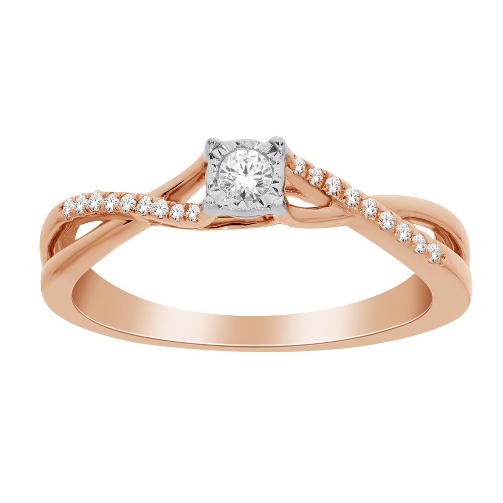 Ring for woman - 10K Rose Gold & Diamonds T.W. 15pts