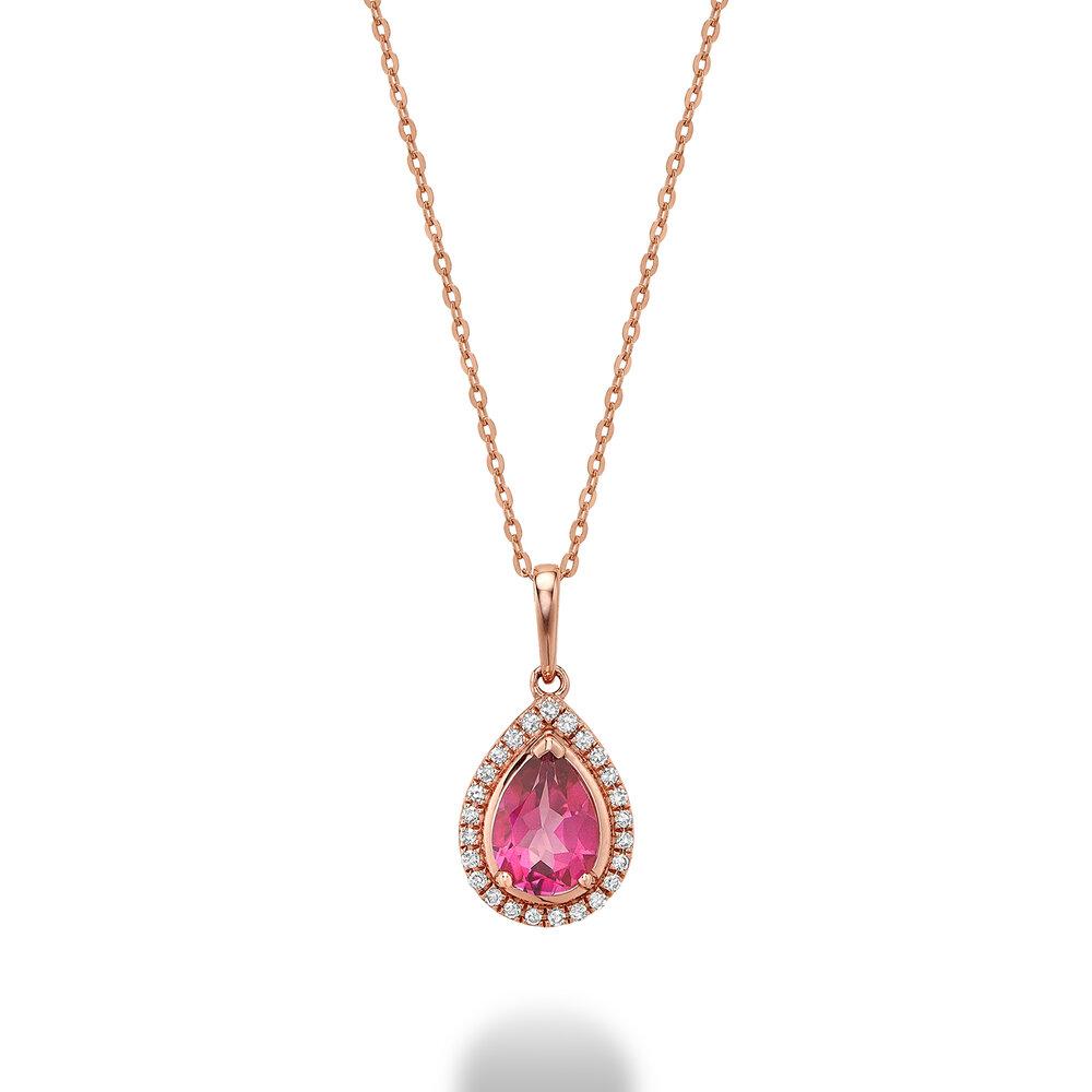 Pendentif pour femme Or rose 10k & topaze rose & diamants totalisant 8pts