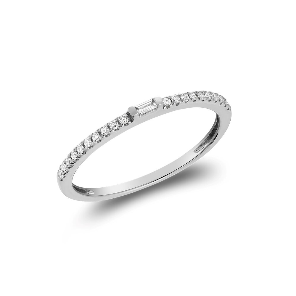 Ring for woman - 10K white gold & Diamonds T.W. 8pts