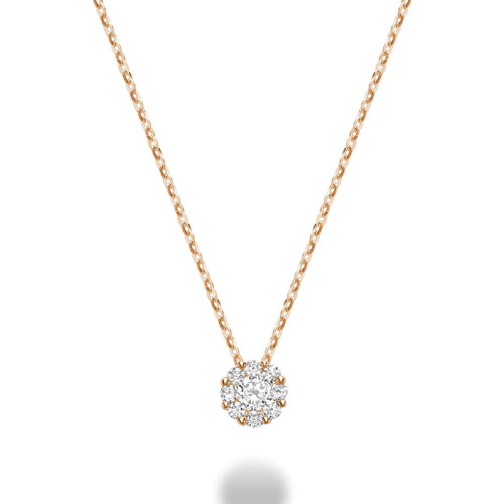 Pendentif fleur pour femme - Or rose 10K & Diamants
