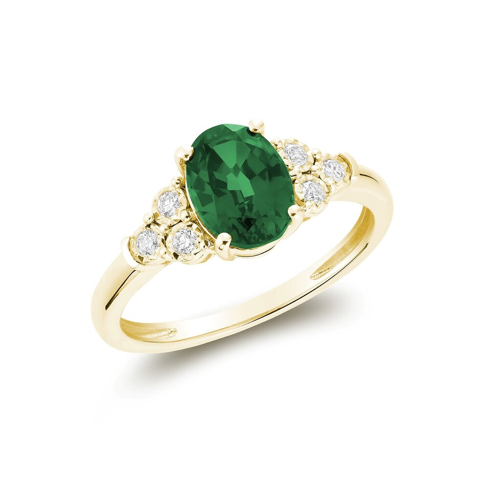 Bague pour femme - Or jaune 10K & diamants totalisant 10pts &  Émeraudes