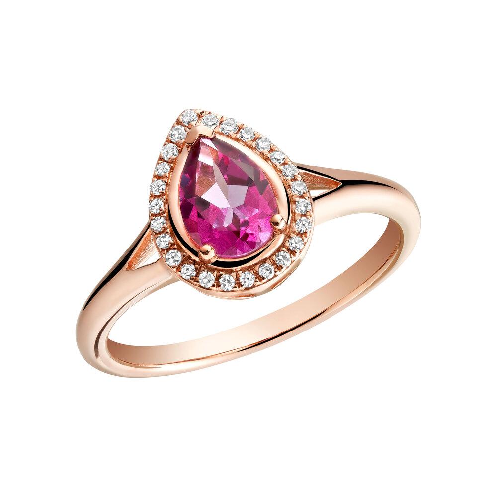 Bague pour femme Or rose 10k & topaze rose & diamants totalisant 8pts