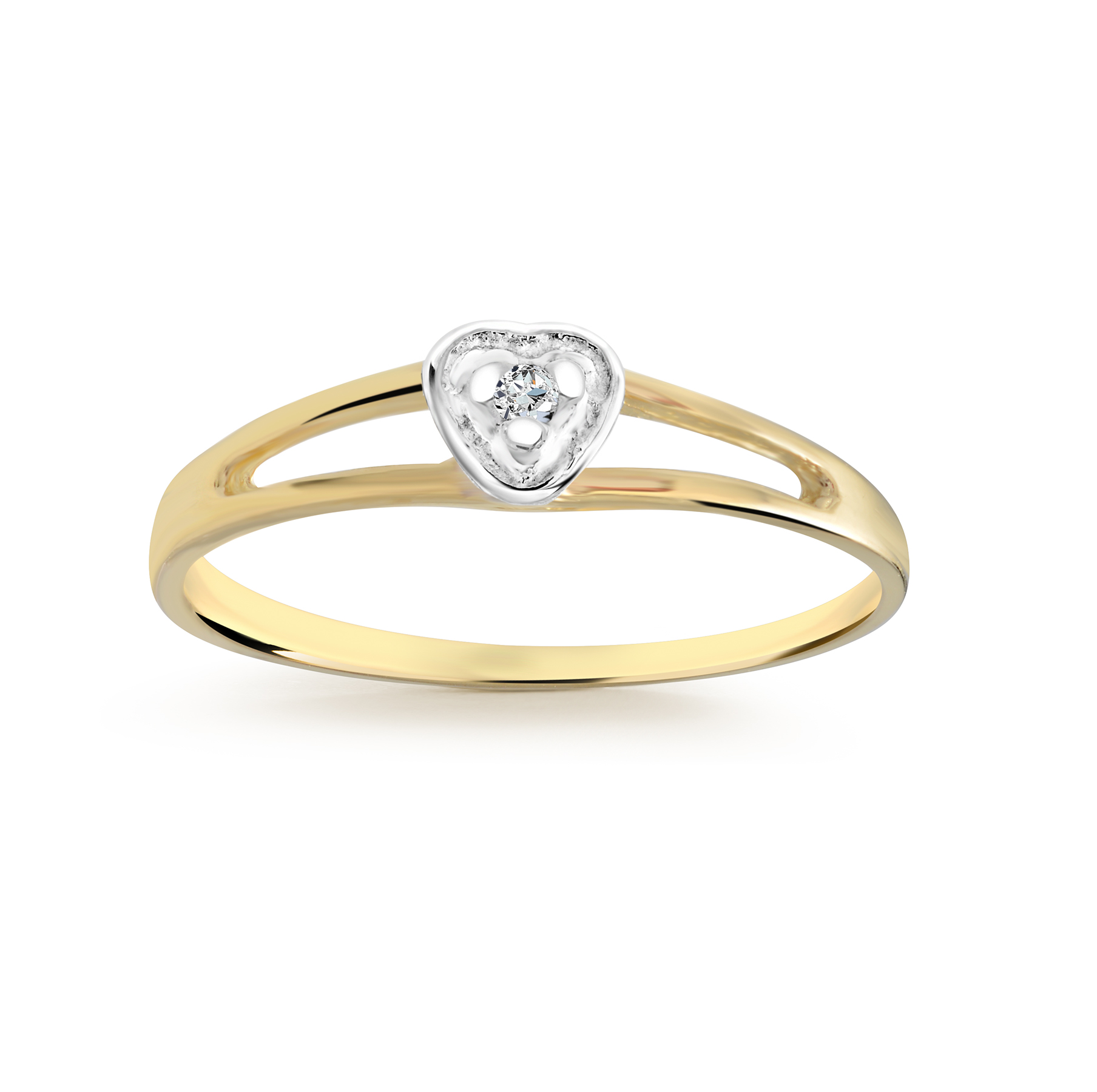 Baby's heart diamond ring in 10K yellow Gold