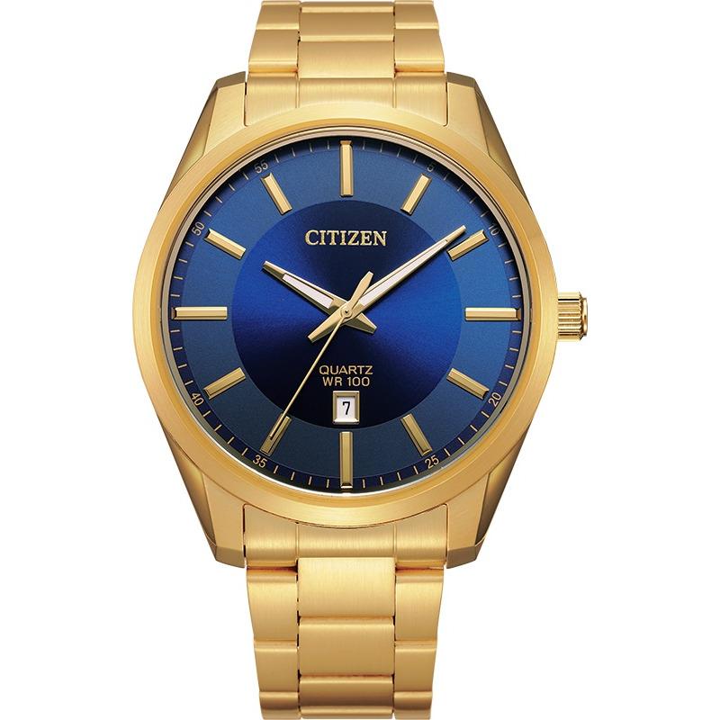 Montre Citizen pour homme à quartz en acier inoxydable doré avec cardan Bleu