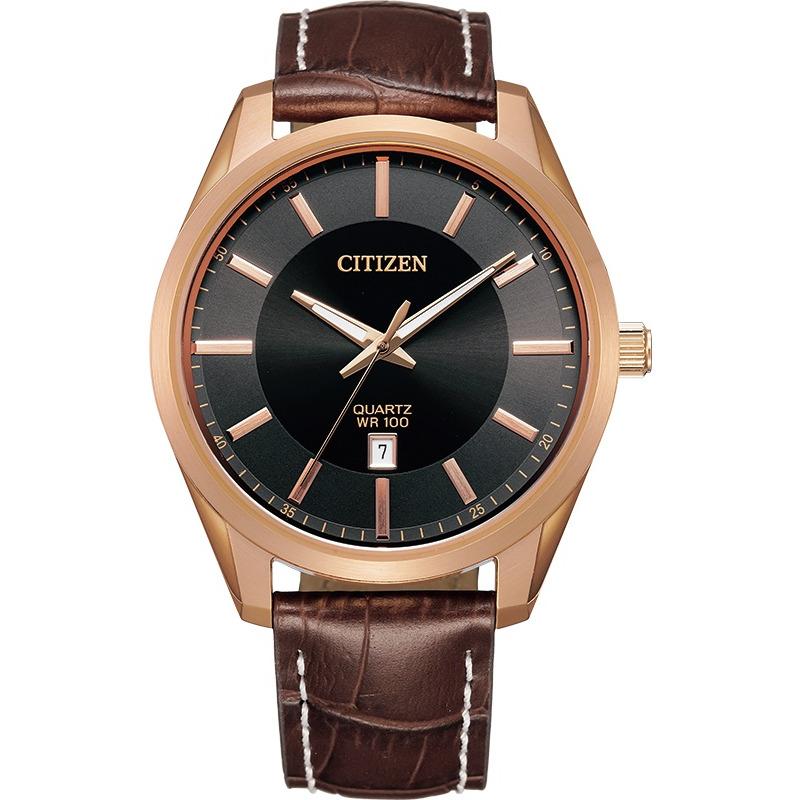 Montre Citizen au quartz pour homme - Acier inoxydable Rose ,Cadran Noir et bareclet en cuir