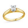 Solitaire Ring, 10K Yellow  Gold & Cubic Zirconia 25 points .