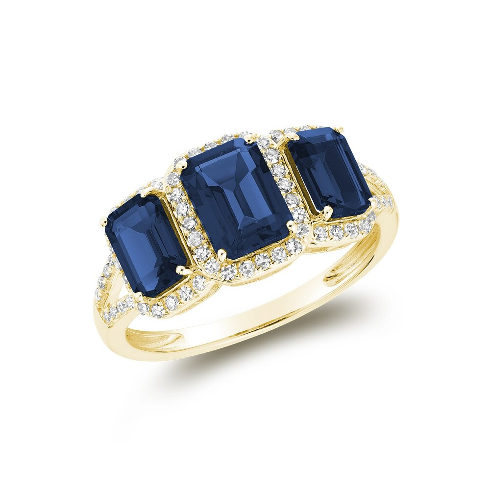 Real stone sapphire ring in 10k yellow gold  with diamond 25 pts.