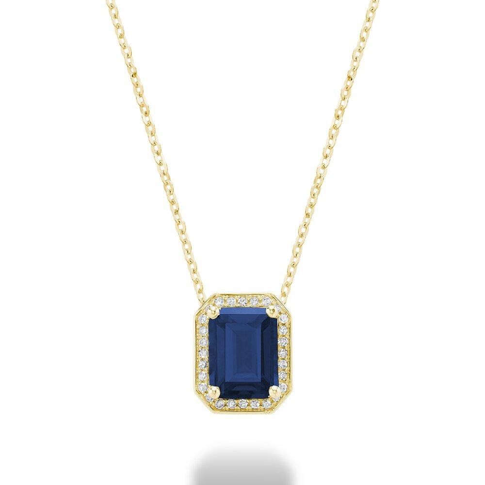 Pendentif saphir en pierre véritable en or jaune10k avec diamant totalisant 8 pts.