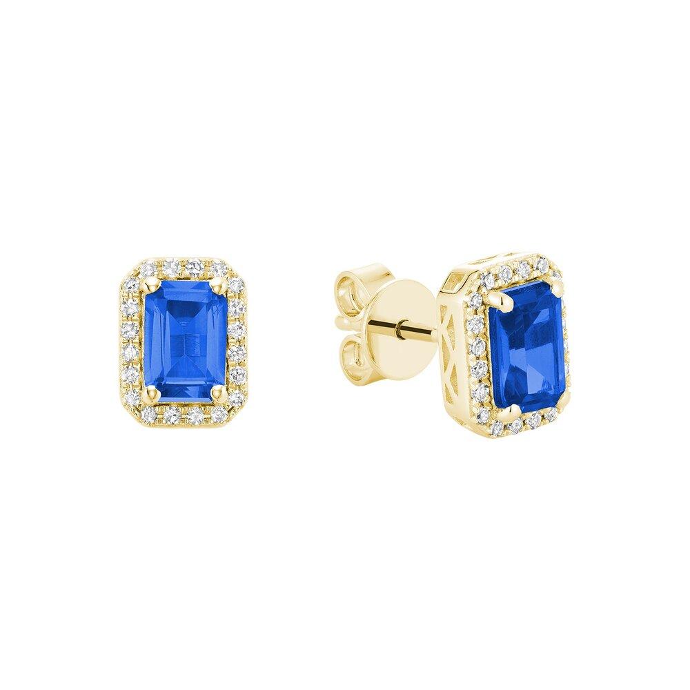 Boucles d'oreilles saphir en pierre véritable en or jaune10k avec diamant totalisant 15 pts.