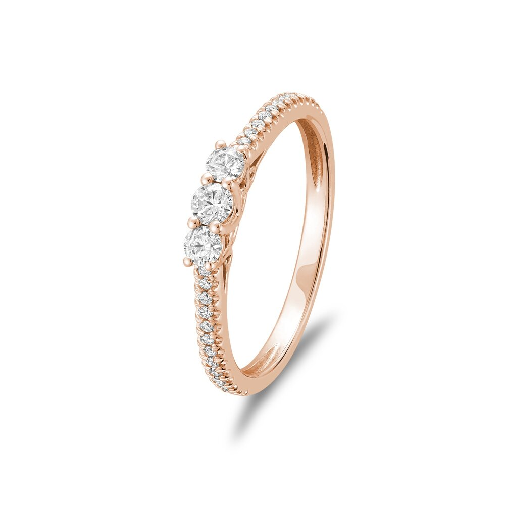 10K Rose Gold Ring with diamonds 25 points