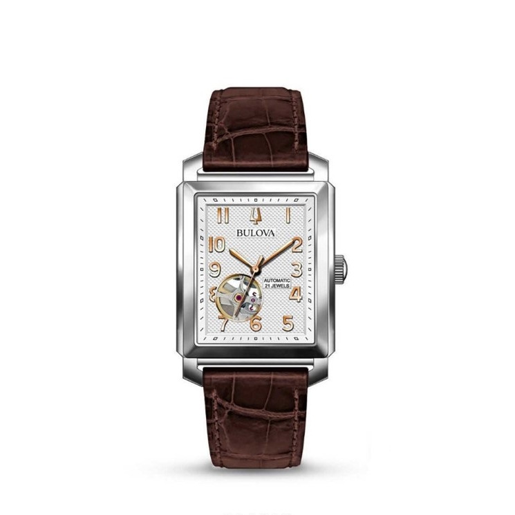 SUTTON : Automatic Silver White Dial Men's Watch with a leather strap