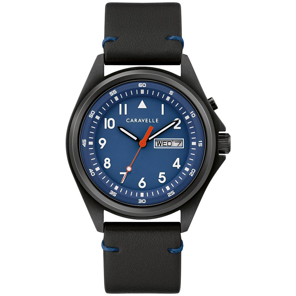 Montre Caravelle classique pour  Homme avec bracelet cuir noir et cadran Bleu