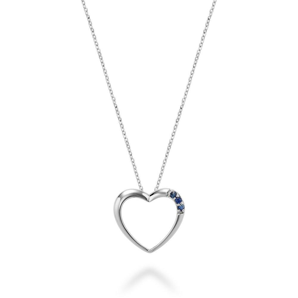 Pendentif  coeur avec saphir en pierre véritable  et  or Blanc 10k-Chaine 18