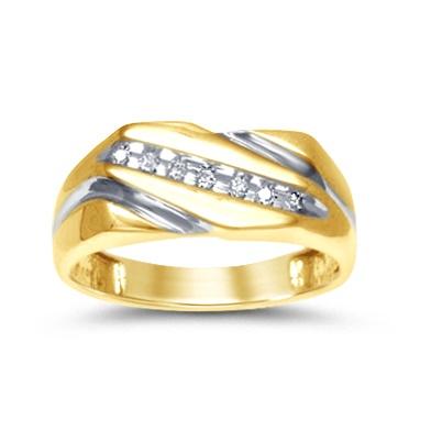Bague pour homme - Or 2-tons 10K & Diamants 0.12 carat