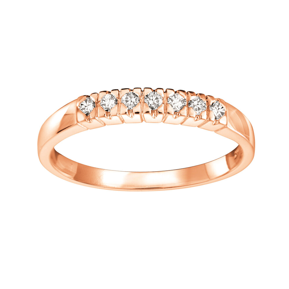 Bague pour femme  en Or rose 14K & Diamants 0.11 carat