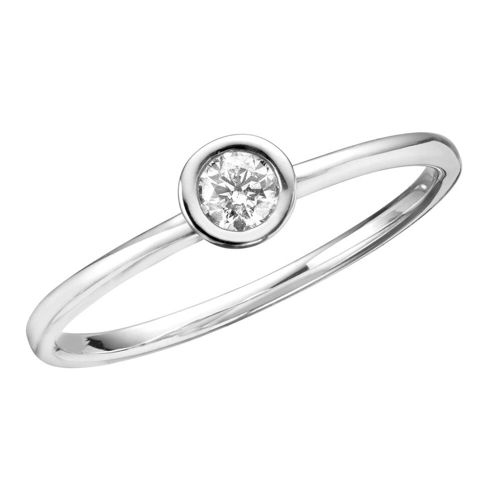 14K White Gold & Diamond Ladies Ring totaling 0.15 carat