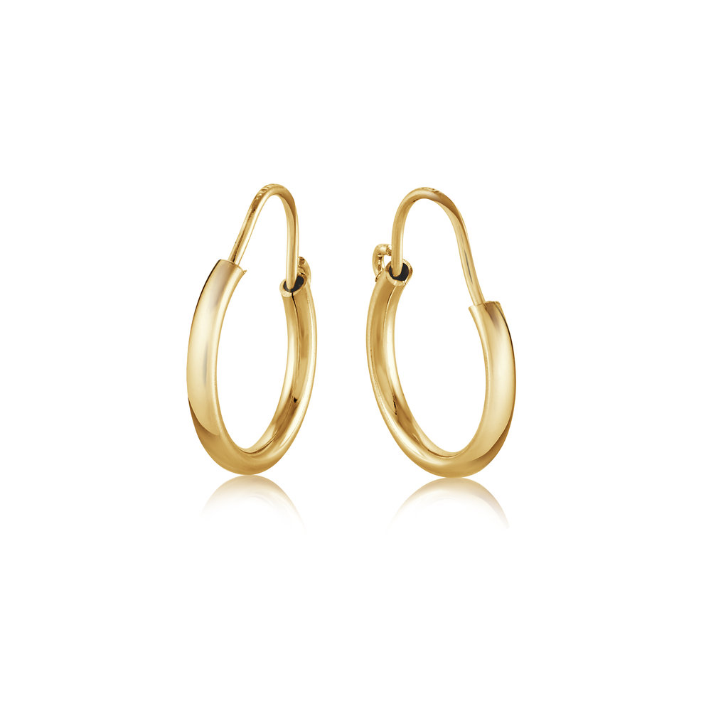 Hoop earrings for kids - 10K yellow Gold