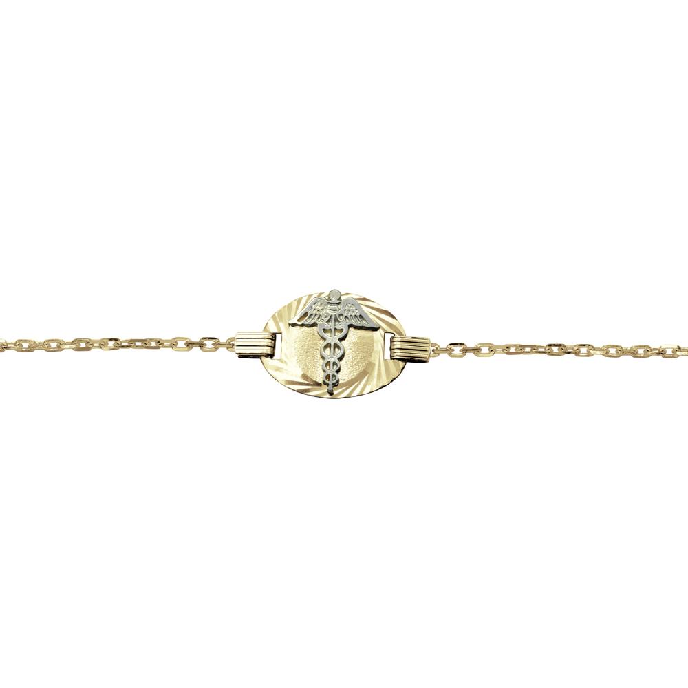 Bracelet médical avec mailles de 2mm - Or 2-tons 10K (jaune et blanc)