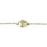 2mm links medical bracelet - 10K 2 tone Gold