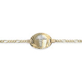 Medical bracelet with diamond cut finish for woman - 10K 2 tone gold