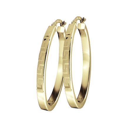 Boucles d'oreilles anneaux ovales pour femme -  Or jaune 10K