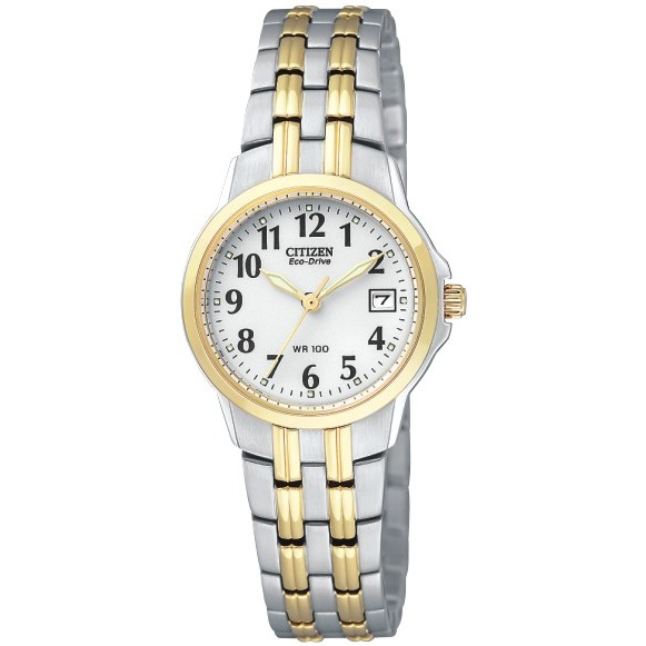 Women's Citizen Eco-Drive watch - 2-tone Stainless steel with white dial.