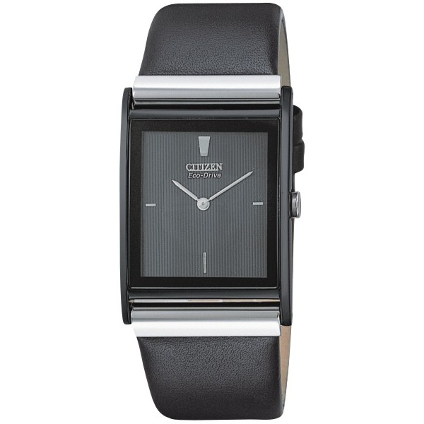 Men's Citizen Eco-Drive Watch.  Rectangle black stainless steel case and black leather strap with black dial. Water-Resistant.