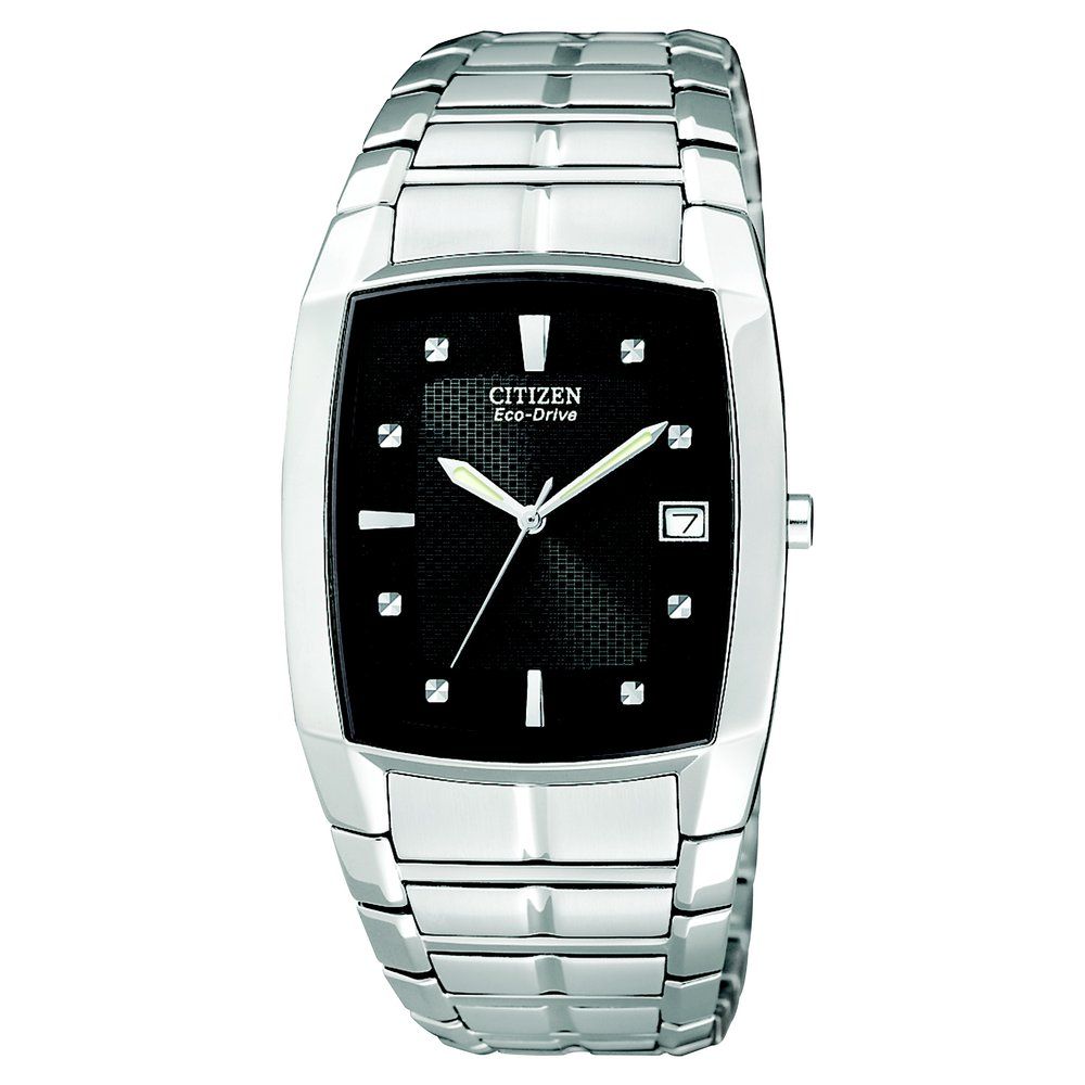 Men's Citizen Eco-Drive Watch. Stainless steel case & bracelet with black dial. Water-Resistant. Deployment clasp with push button.