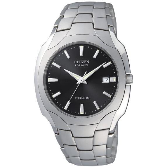 Men's Citizen Eco-Drive Watch. Round titanium case & bracelet with black dial. Water-Resistant. Fold-over clasp with push button.